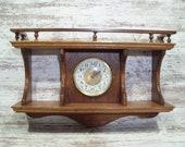 Oak Wall Clock Plate Shelf Hand Made Dated 1995 Clock With Shelf