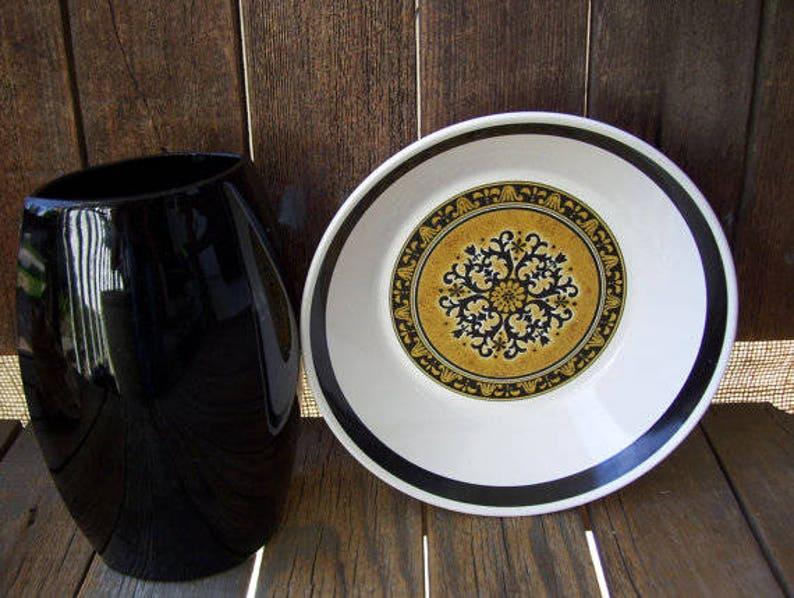 3 Cortez Studio Kraft by Mikasa Mid Century Soup Bowls Black and Gold Pattern 7912 Spanish Decor