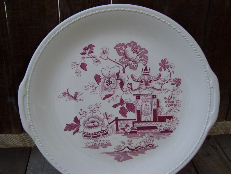 RARE Red Cranberry Asian Oriental Transferware Taylor Smith Taylor Pagoda Butterflies  Round Platter