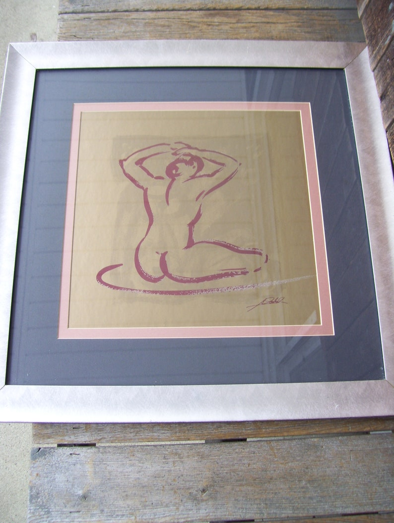 Nude Woman Silhouette Body Language Signed Art Contemporary Art Gold Foil Matte Silver Frame Signed Portrait Art Female Still Art