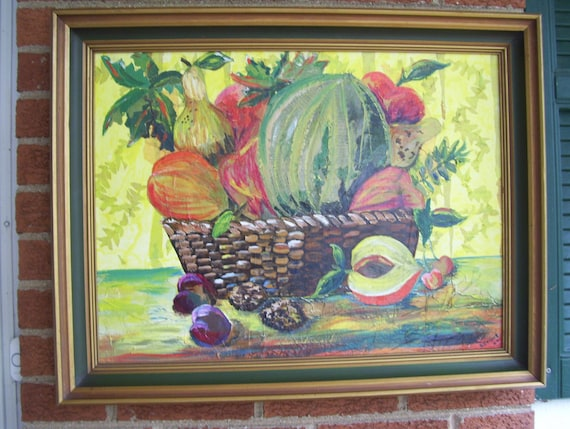 Large Oil And Tissue On Canvas Paper Still Life Fruit Textured Oil Painting Dated 1969 Signed Art L Dering Wood Frame