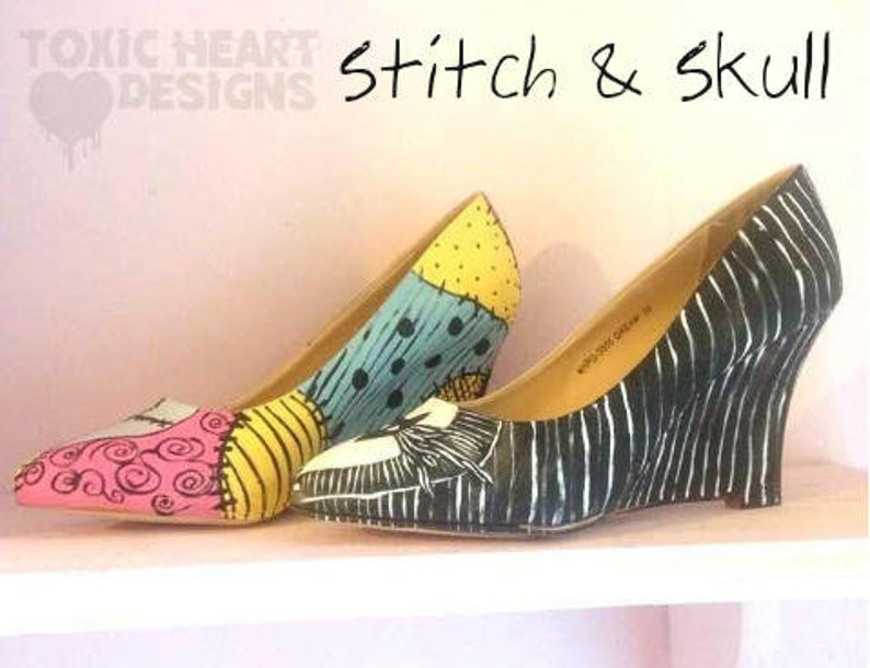 6dc86a6797492 Stitch and skull! A beautiful pair of Jack and Sally inspired shoes /  Nightmare before Christmas - Halloween - Love - Pinstripe - Patchwork.