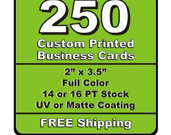 250 business cards etsy 250 single or double sided custom printed business cards 14pt or 16pt matt or uv glossy coated reheart Image collections