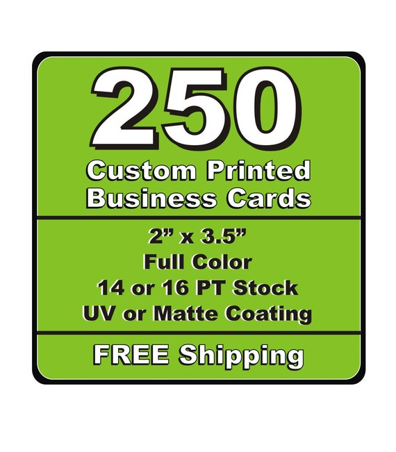 250 Single Or Double Sided Custom Printed Business Cards 14pt Etsy