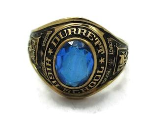 23404d1b59d 10K 10 KT Gold Ring Class Ring Blue Stone 1964 Size 8 Design Durrett High  School Costume Jewelry Gift Ideas Estate Finds