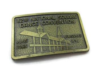 14b982e32aeff4 National Square Dance Convention Gürtelschnalle 1983 Vintage Western Wear  nachgerüstet Design Geschenk Idee Westler Unisex