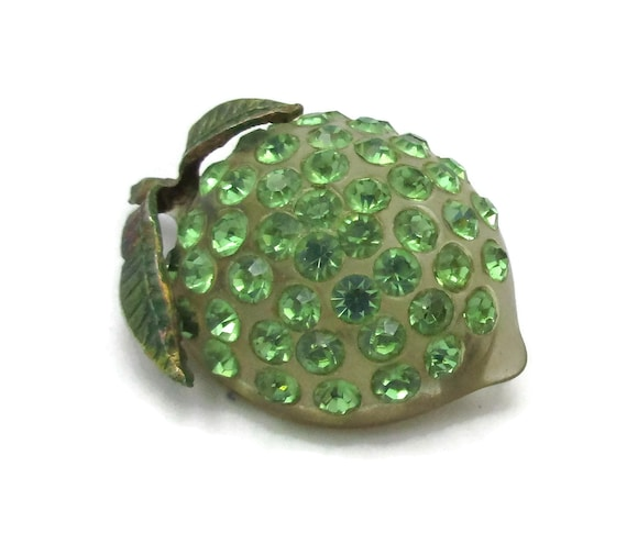 Lucite Fruit Pin Green Rhinestone Fruit Brooch App