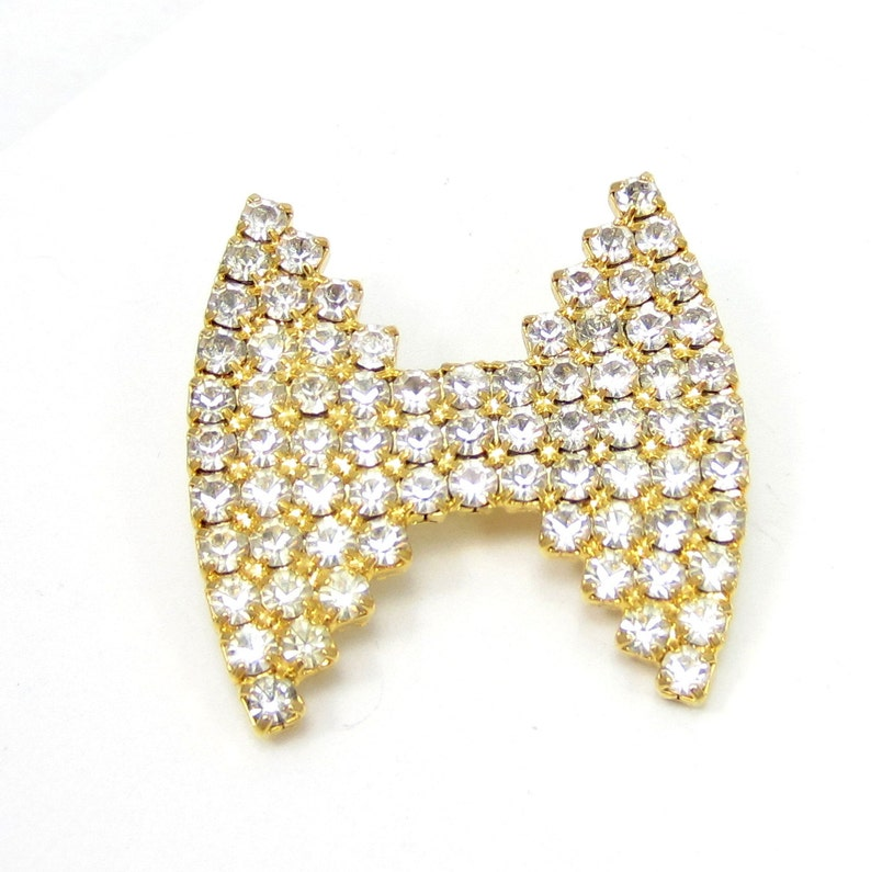 Dorothy Bauer Gold Tone Rhinestone Pin Bowtie Brooch Bridal Pin Prom Jewelry High End Designer Estate Vintage Jewelry Shawl Scarf 1980