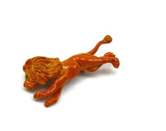 Orange Enamel Lion Pins Metal Pin Lion Brooch  African Safari Animal Vintage Estate Jewelry Tribal Vintage Estate Gift Idea