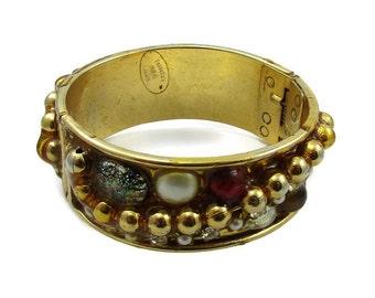 FERNELLA NYC Jools Gold Tone Bangle Bracelet Clamper Hinged Designer Runway Thick Chunky Statement Vintage Costume Jewelry Modernist Paula