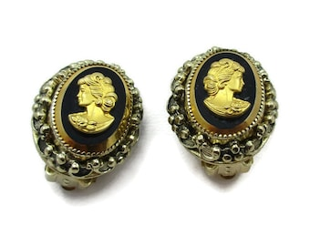 Whiting Davis Cameo Clip Gold Tone Earrings Intaglios Designer Signed Vintage Costume Jewelry Christmas Gift Ideas Paula