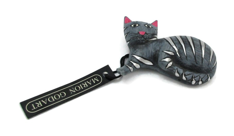 Marion Godart Grey Cat Brooch Pin Wooden Jewelry NOS Figural Runway Haute Couture Whimsical Artsy Runway Vintage Costume Jewelry