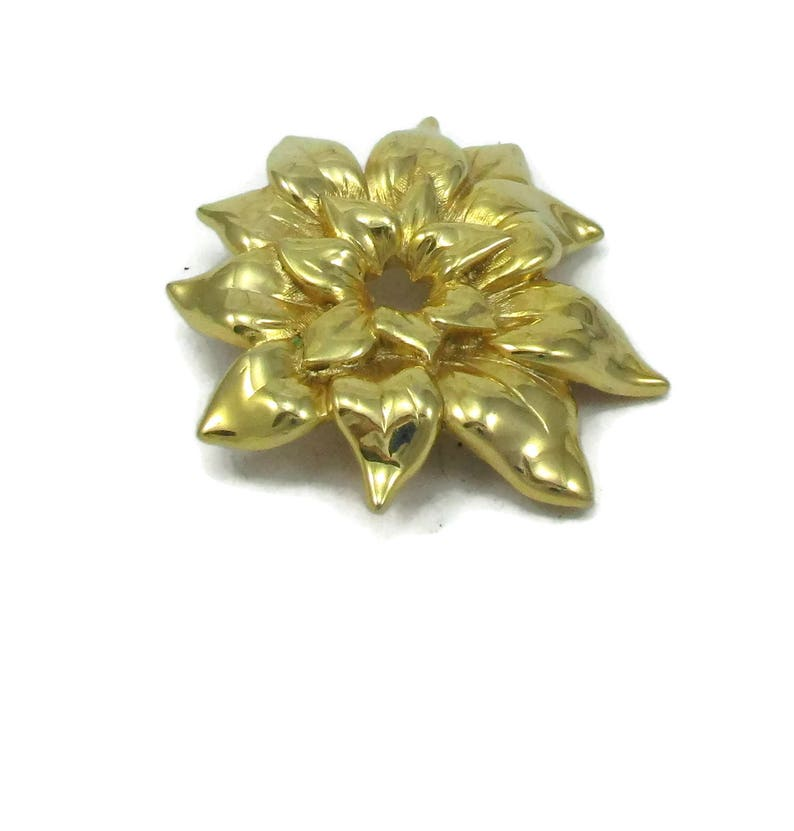 Gold Tone Flower Brooch Pin Shiny Matte Gold Modernist Textured Designer Shawl Scarf Pin Vintage Costume Jewelry Gift Ideas