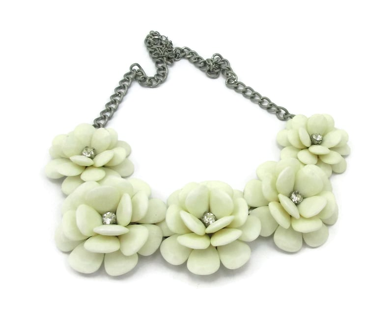 Rhinestone White Plastic Necklace Silver Tone 24 Inches Long Floral Flowers Statement Designer  Vintage Costume Jewelry Design Gift