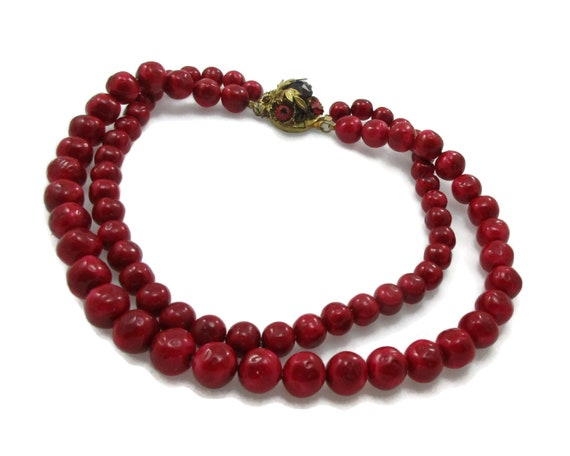 Vintage Bead Necklace Double Strand Necklace Estate NecklaceWhiskey Color Jewelry