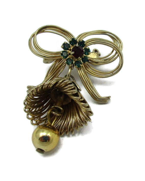 Vintage Gold Tone Bell Blue Green Ribbon Brooch for Shawl Scarf or lapel Christmas.