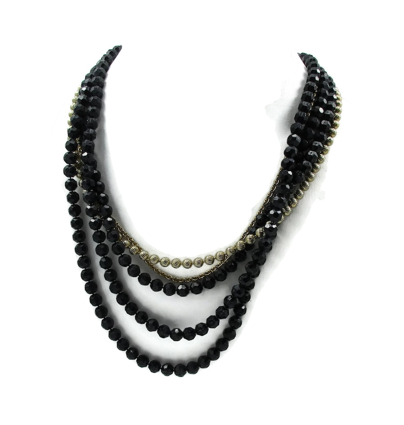 Black Gold Bead Necklace Multi Strand Art Deco Vintage Jewelry Estate Designer Signed 24 27 Inches Runway High End Costume
