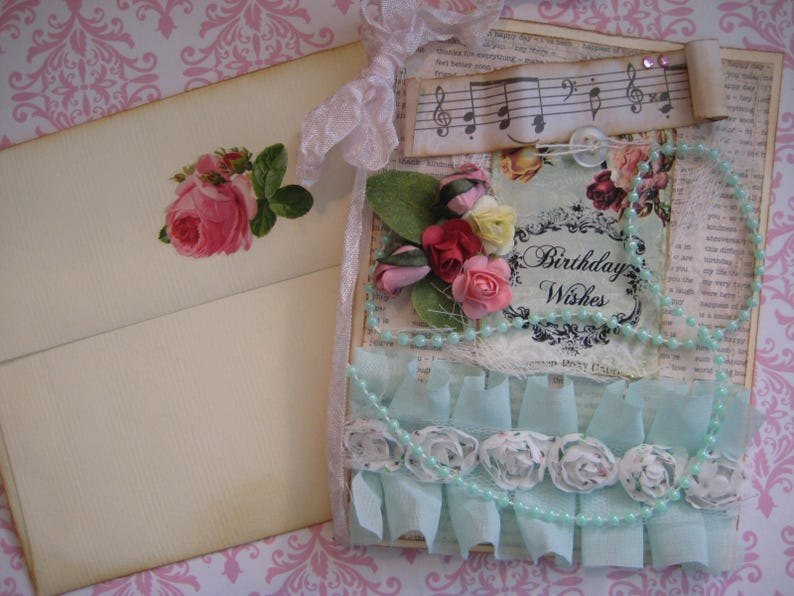 Shabby Chic Birthday Wishes Card Aqua And Pink Music Notes