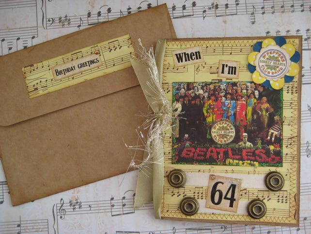 Beatles Birthday Card When Im 64 Sgt Peppers Etsy