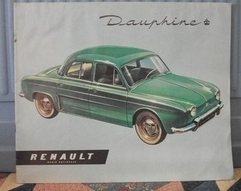 3912b03a53 1956 vintage Renault Dauphine French Auto Sales brochure 10