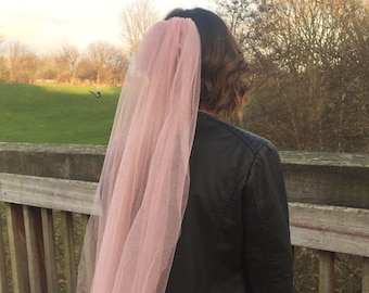 Blush Veil - Bridal Veil - Pink Wedding Veil - Fingertip Veil - Short Veil - Blush Wedding Veil - Unique Veil - Boho Veil