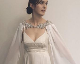 4d3ee5b84b53c Crystal Bridal Cape - Bridal Cape - Wedding Cape - Bridal Capelet - Wedding  Capelet - Crystal Bridal Necklace - Crystal Capelet