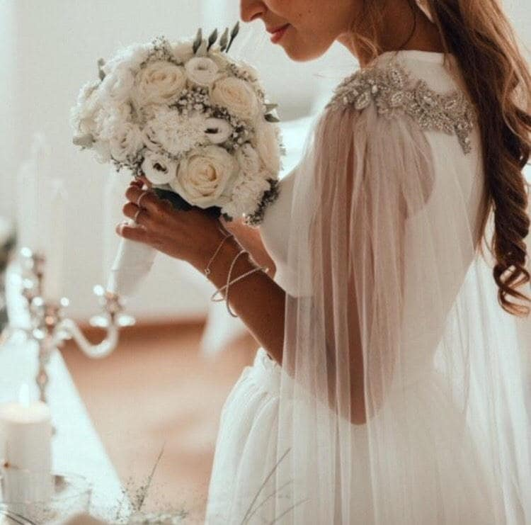 Kristall-Kap-Schleier Braut Perlen Cape Cape-Brautschleier