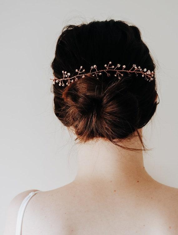 Vigne de cheveux d'or vigne - Or Rose casque - parure de tête - cheveux de mariée vigne - Epingle à cheveux en or Rose - vigne de cheveux argent - or rose cheveux