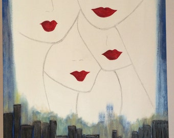 Figurative Art. Lovely Lips.  Original Acrylic Painting by jodilynpaintings.  Painted on 18x24 stretched canvas. Perfect home decor.