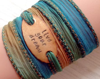 Silk wrap bracelet,  silk ribbon bracelet ,boho wrap,LIVE YOUR DREAM ,handdyed,enameled copper,yoga,ruban de soie,Seidenband# 171