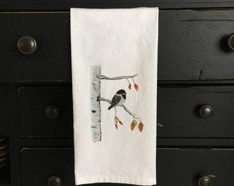 Tea towel, birdtowel, Chickadee birch tree towel, nature towel, guest towel, gift, decorative tea towel, functional tea towel, unique