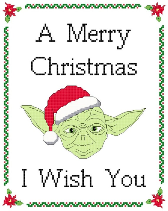 Yoda Christmas cross-stitch pattern