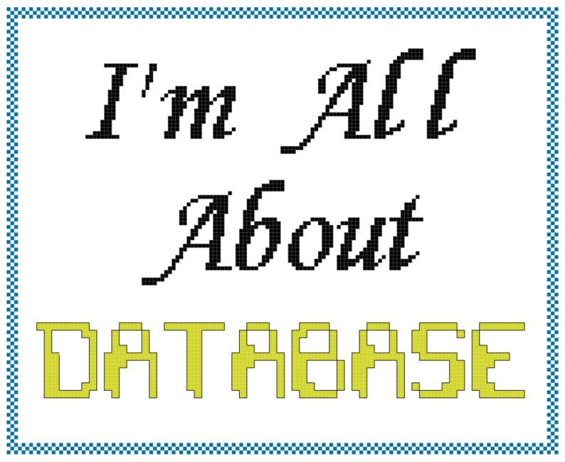 All About Database Pop Music Inspired Cross Stitch PATTERN