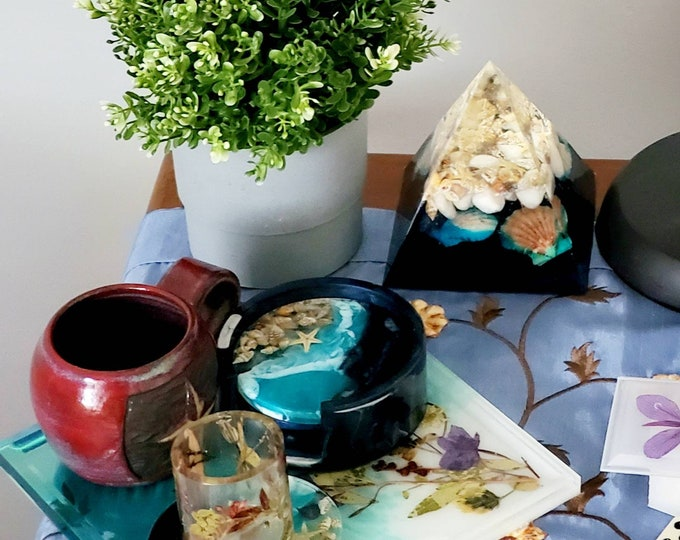 Featured listing image: Pressed flower coaster set with holder, handmade arctic floral coasters, geode resin set, great gifts