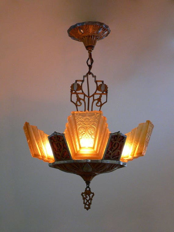 image 0 - Antique Art Deco Chandelier With Slip Shades From 1930 Etsy