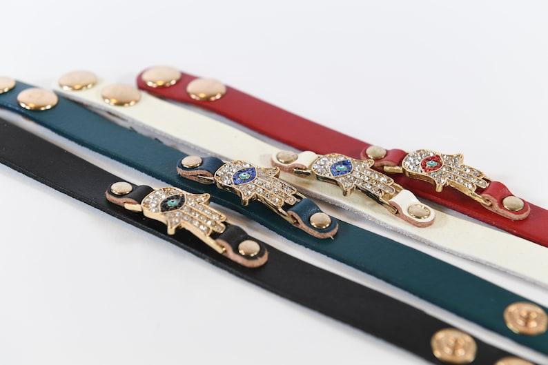 PU leather Evil Eye Hamsa Pendent Bracelet For Women Fashion Jewelry ready to ship