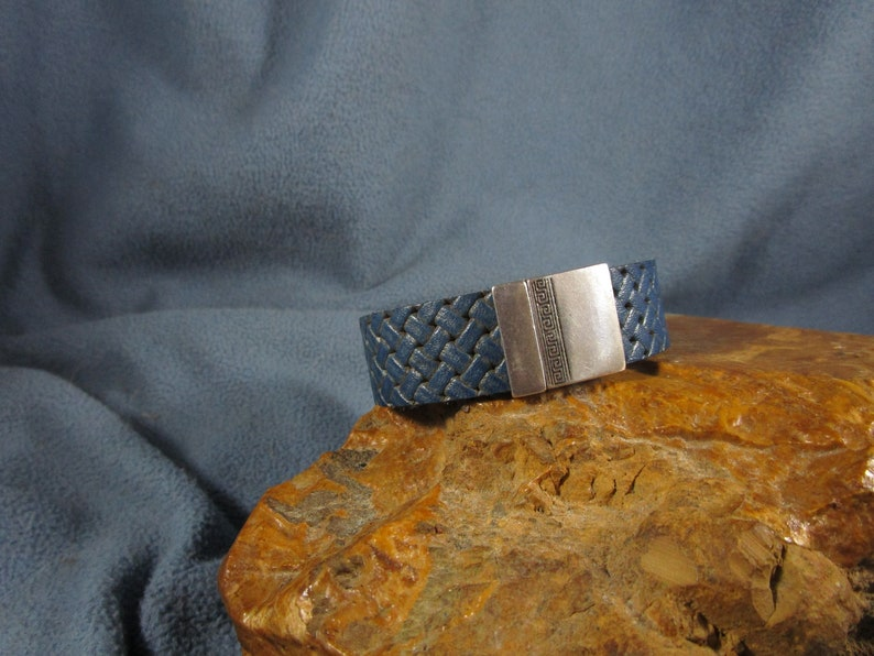 Denim Blue Leather Bracelet with Embossed Braided Design and Silver Tone Magnetic Clasp