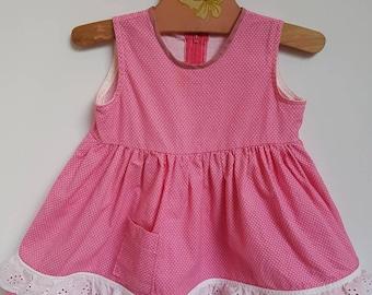 Vintage polka dot handmade toddler dress approx size 12 months