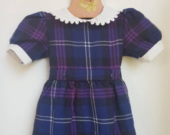 Purple tartan toddler dress