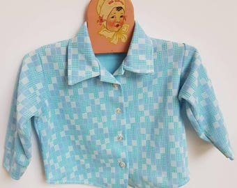 Vintage polyester toddler top. Midcentury Birdy Togs. Tagged 18 months ( Smaller fit )
