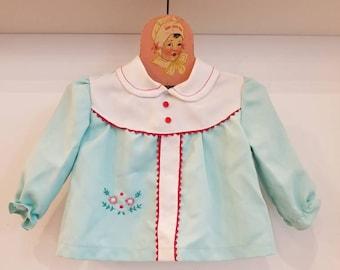 Vintage robins egg blue toddler top. Approx size 12 months