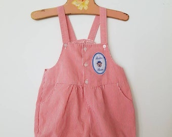 Vintage Sailor Bear  accented shortalls. Approx size 12-18 months