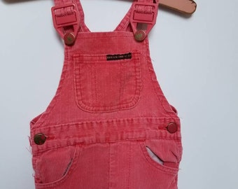 Vintage coral toddler overalls. Approx size 2