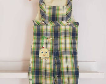Vintage plaid overalls. Vintage toddler clothes
