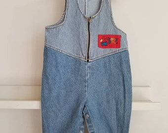 Vintage Toddler denim overalls. 90s Please Mum. Made in Canada. Approx size 2
