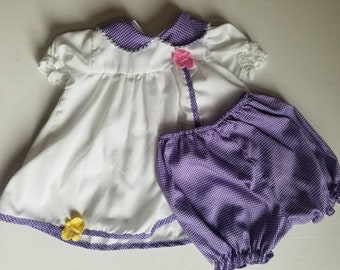 Vintage, baby dress set. Approx size 6-12 months