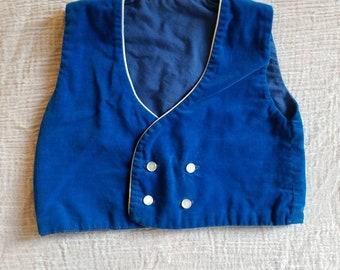 Vintage blue velvet baby vest. Approx size 6-12 momths