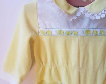 Vintage yellow elephant accented full length jumper