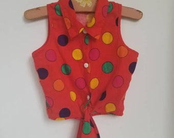 Vintage polka dot toddler blouse. Approx size