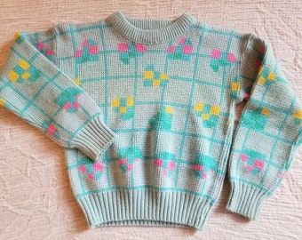 Vintage machine knit toddler sweater. Approx size 4